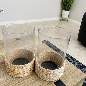 Candle Holder with Rattan Base for Sale in Riverside, CA
