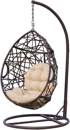 New tear drop hanging chair and cushions, without stand outdoor/indoor for Sale in Elkridge, MD