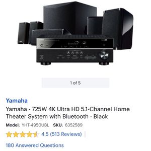 Yamaha 725W Home Theater Set - Like New for Sale in Houston, TX