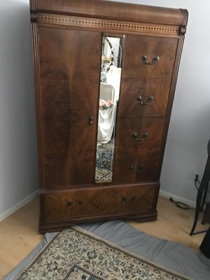 Antique Inlay Armoire with four drawers and a side for hanging clothes for Sale in Santa Monica, CA