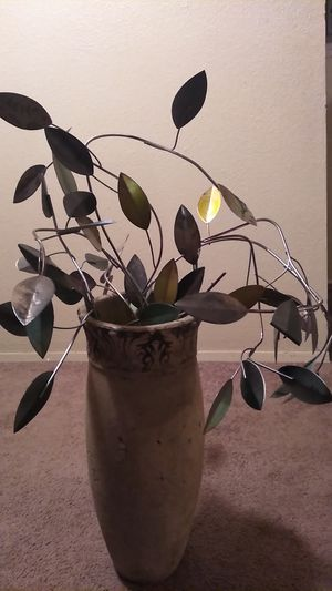 Flower vase with metal leaves included for Sale in Wichita, KS