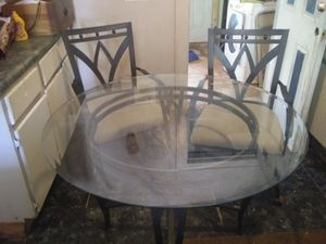 Glass kitchen table and chairs for Sale in Oklahoma City, OK