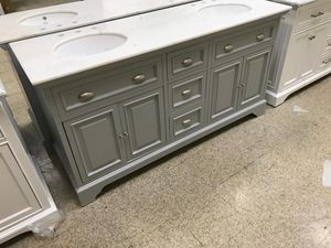 67 in. W x 21.5 in. D Vanity in Dove Grey with Marble Vanity Top in Natural White for Sale in Dallas, TX