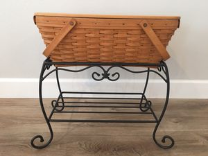 Longaberger 1998 Treasure Basket with shelf Top and Wrought Iron Stand Rare Like New for Sale in Huntington Beach, CA