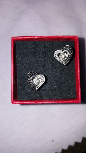 Black and white diamond heart earrings. for Sale in Emigsville, PA