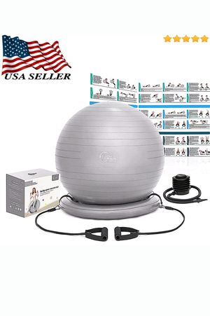 "Premium Exercise Yoga Ball 25"" (65cm) 2 Resistance Bands / Stability Ring / Pump / Exercise Poster Support up to 2200LBS for Sale in Pismo Beach, CA"