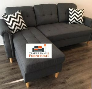 Brand New Blue Grey Reversible Linen Sectional Sofa Couch for Sale in Silver Spring, MD