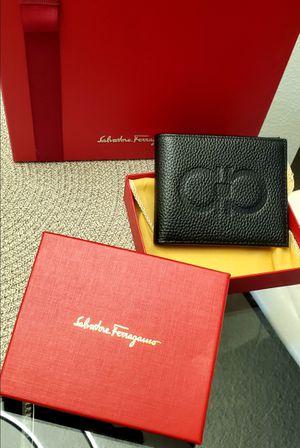 Brand New Salvatore Ferragamo MenWallet Black and Grey Plaid for Sale in Los Angeles, CA