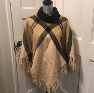 100% Wool poncho made in Finland Cape Burberry print winter jacket warm for Sale in Fort Myers, FL