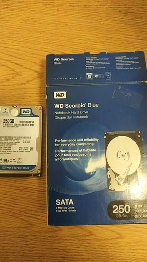 WD Scorpio Blue Notebook Hard Drive - 250 GB/Go for Sale in Milton, WA
