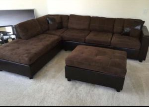Dark Brown Sectional Sofa with Reversible Chaise!! Brand New Free Delivery for Sale in Chicago, IL