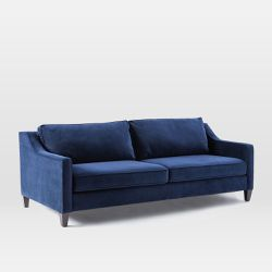 West Elm Blue Velvet Queen Sleeper Couch for Sale in Boston,  MA