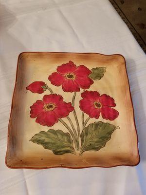 Tan red floral platter. 11 1/2 in. Square for Sale in Orange, CA