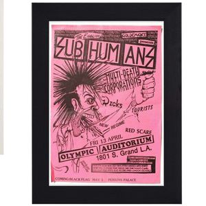 Sub Humans print mini concert poster flyer music for Sale in Covina, CA
