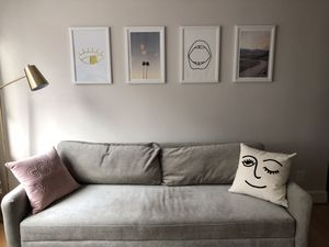 Silvery/ grey sofa with throw pillows for Sale in Washington, DC