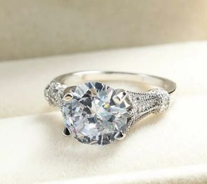 Sterling Silver Brilliant white sapphire Cubic Zirconia Engagement Ring 💍 Sz6 & 7 for Sale in Washington, DC