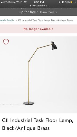 INDUSTRIAL TASK FLOOR LAMP IN BLACK/ANTIQUE BRASS for Sale in Miami, FL