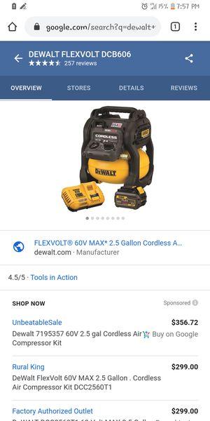 Air compressor Dewalt flexvolt battery powered air compressor for Sale in Maryland Heights, MO