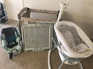 A set for baby : car seat, crib, Baby swing and 2 door locks for kids for Sale in Wilkes-Barre, PA