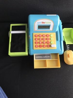 register cashier with real calculator shopping toy for kids for Sale in Schaumburg, IL