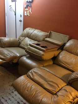 Pure Genuine Leather And Pure Oak Recliner Couch With Antique Coffee Table for Sale in Lowell,  MA