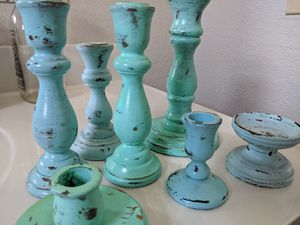 "7 eggshell painted ""vintage"" looking wood candlesticks for Sale in Hayward, CA"