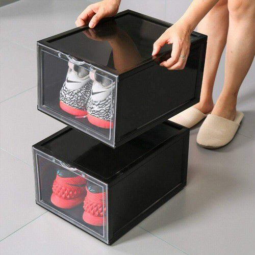 2 pcs. Shoes Box Plastic Stackable Sneaker Container Storage Heavy Duty Organizer NEW