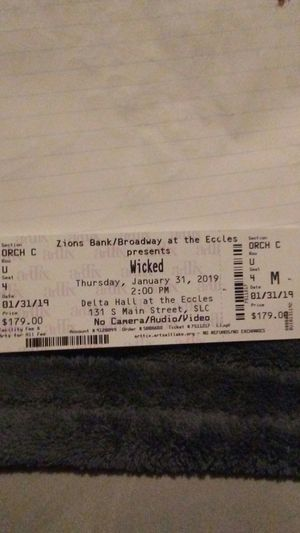2 Wicked tickets for Sale in Salt Lake City, UT