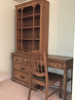 Pecan desk with hutch and chair for Sale in Eldersburg, MD