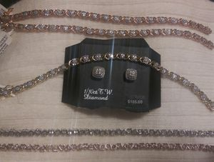 Silver diamond bracelets and earrings for Sale in Vacaville, CA