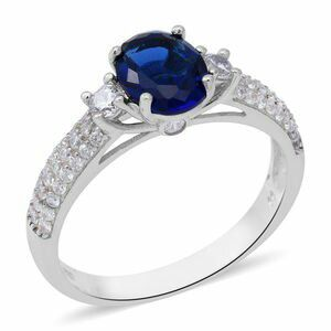 Simulated Blue Sapphire, Simulated Diamond Ring in Sterling Silver (Size 10) for Sale in Lawrenceville, GA