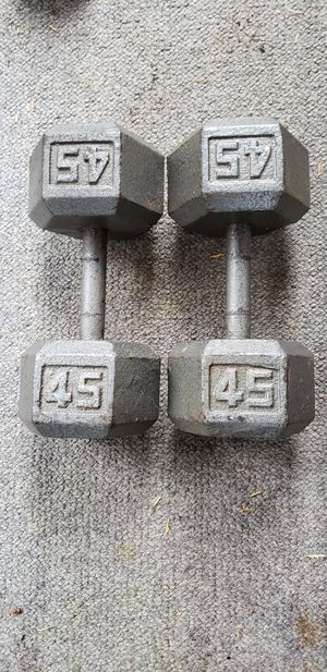 Pair of 45 lb Hex Dumbbells for Sale in Snohomish, WA