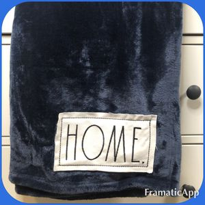 Rae Dunn Navy Blue HOME Throw Blanket for Sale in San Bernardino, CA