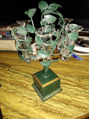 One of a kind green plant/candle holder for Sale in Scottsdale, AZ