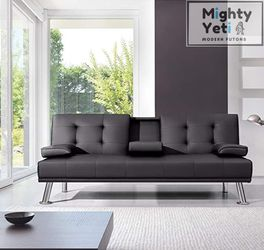 Obsidian Black Leather Futon (FREE DELIVERY) for Sale in Chicago,  IL