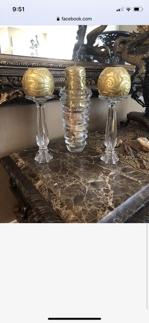 Home decor crystal candle holders candles and vase for Sale in Poway, CA