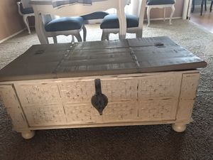 Firm on price. Beautiful pottery barn type coffee table trunk storage. for Sale in Menifee, CA