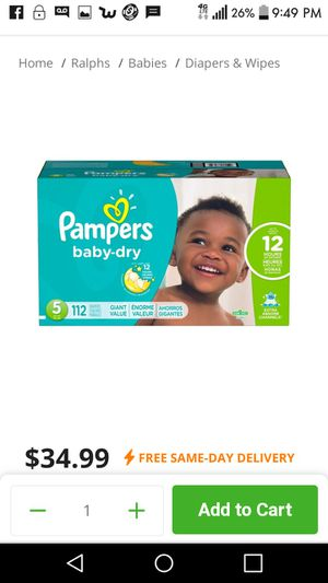 Pampers 112 count size 5 for Sale in Garden Grove, CA