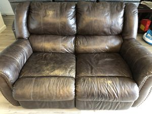 Brown leather couch for Sale in Oceanside, CA