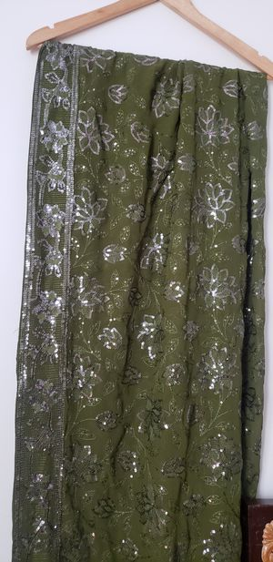 Dark Olive Green Sequin Sari Saree Indian Pakistani Clothing Fabric Outfit Bollywood for Sale in Bristol, CT