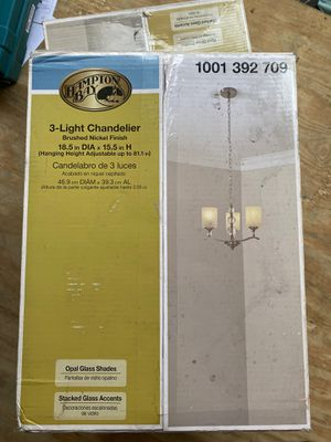 Hampton bay 3 light chandelier for Sale in Arvada, CO