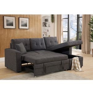 BRAND NEW GRAY //BROWN /BLACK Linen Fabric Pull Out Sectional Sofa Bed W/Storage & Pillows for Sale in Diamond Bar, CA