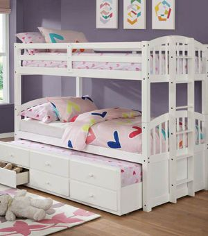 Yang Twin Over Twin Bunk Bed with Storage Drawers and Twin Trundle for Sale in Katy, TX