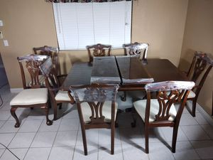 Large two (2) drop leaf formal dining room table room furniture set for Sale in Lakeside, CA