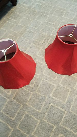 Pair of red lamp shades for Sale in Lake Ridge, VA