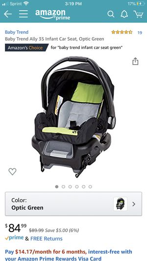 Baby Trend Ally 35 Infant Car Seat, Optic Green for Sale in Bolingbrook, IL