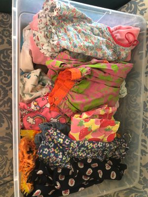 Bin full of toddler girl clothes baby to 5t mixed clothing rompers dresses shorts skirts overalls vintage and modern for Sale in Pompano Beach, FL
