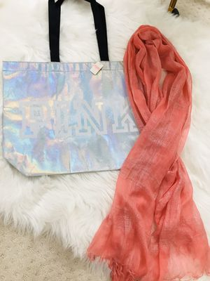 BUNDLE! PINK iridescent tote and scarf! for Sale in Santa Maria, CA
