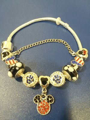Beautiful USA Mickey and Minnie Charm Bracelet With Beaded Crystals for Sale in The Bronx, NY