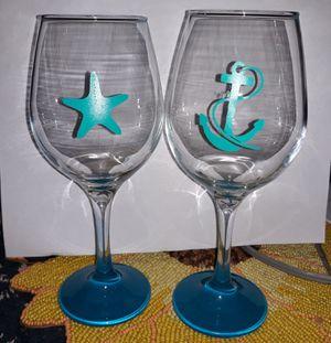 Beachy wine glasses set of 6 for Sale in Tarpon Springs, FL